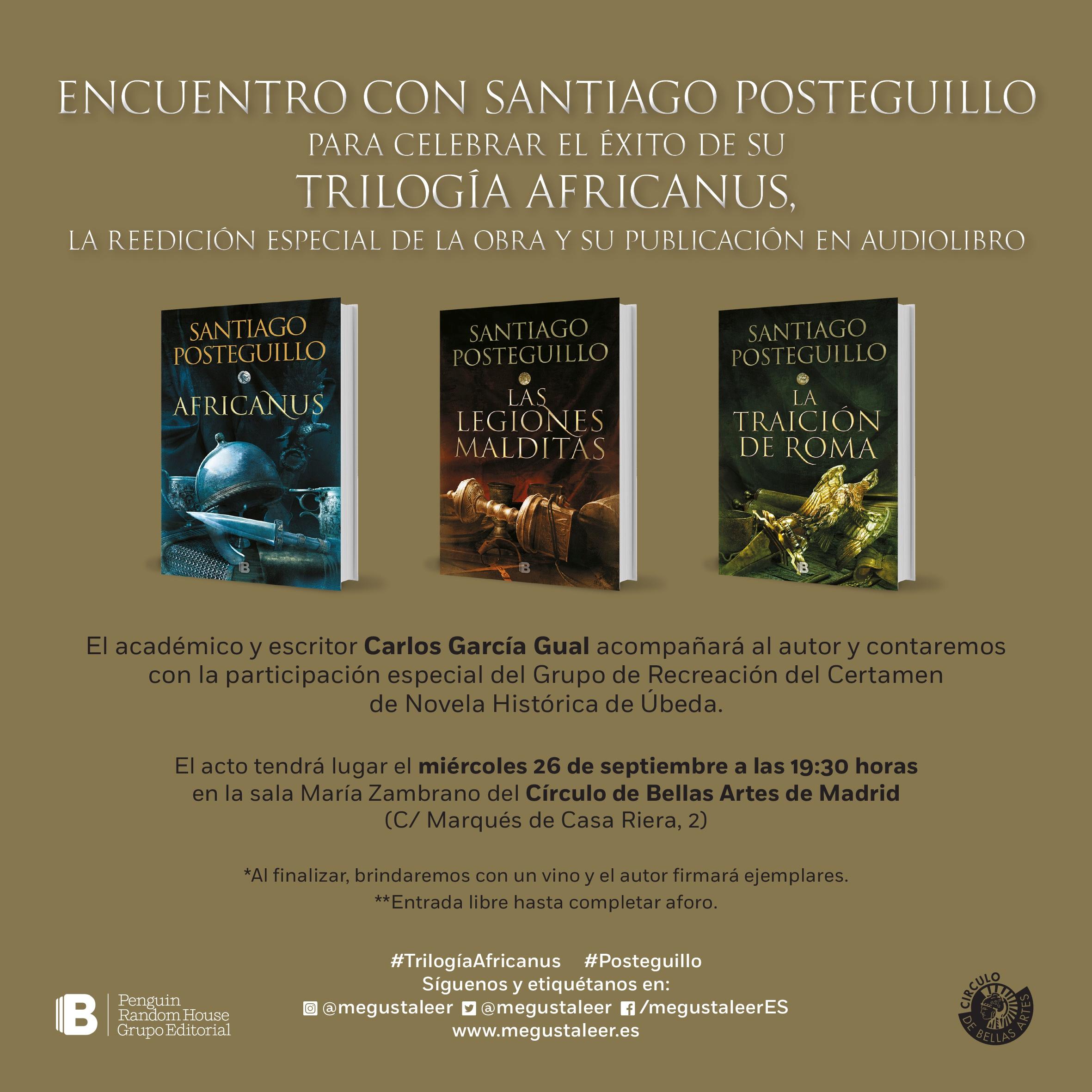 Invitación Encuentro con SANTIAGO POSTEGUILLO por el éxito de AFRICANUS