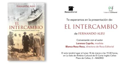 18 de marzo-Ambito Cultural-Pre. del libro de Fernando Aleu, El intercambio- Conversará con Lorenzo Caprile .