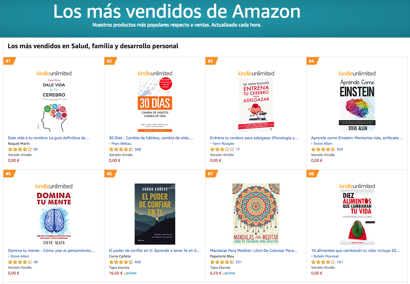 Los 10 libros más vendidos en Salud, familia y desarrollo personal en Amazon
