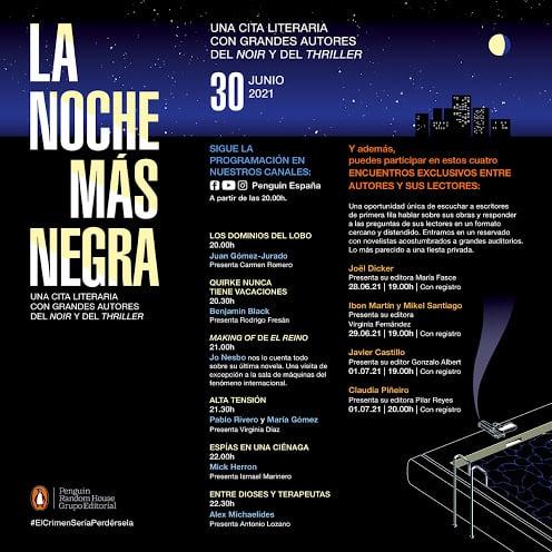 30-J: La noche más negra, un festival literario virtual con los grandes autores de novela negra y thriller