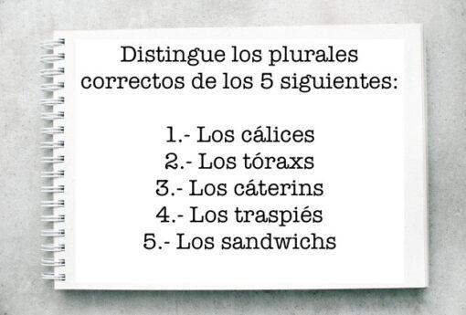 Distingue los plurales correctos de los 5 siguientes: