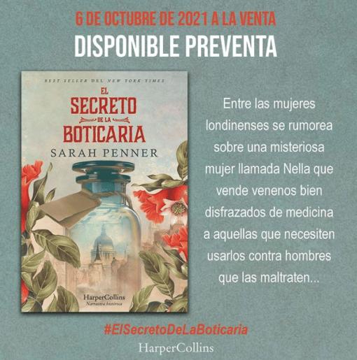 El 6 de octubre llega 'EL SECRETO DE LA BOTICARIA', la primera novela Sarah Penner