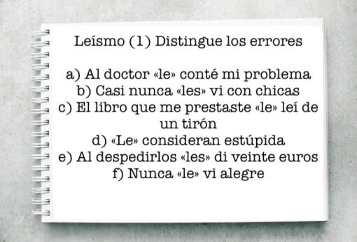 Leísmo (1) Distingue los errores